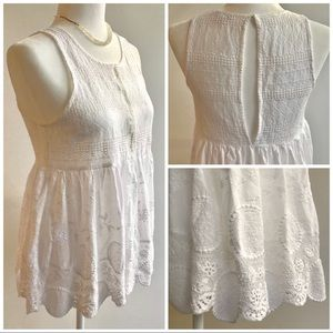 Beautiful White Eyelet Sleeveless Blouse